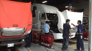 Trucks in for service