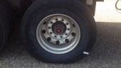 One bullet hit a trailer tire.