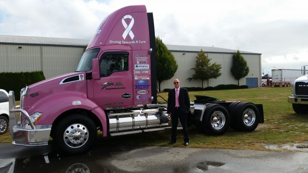 Sutco's new Pink Power truck pictured with v.p and g.m. Doug Sutherland.