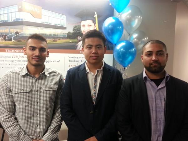 L to r: Harpreet Lidder, Mustafa Tursun , Zain Murtaza are among the most recent graduates from Avaal's transportation courses.
