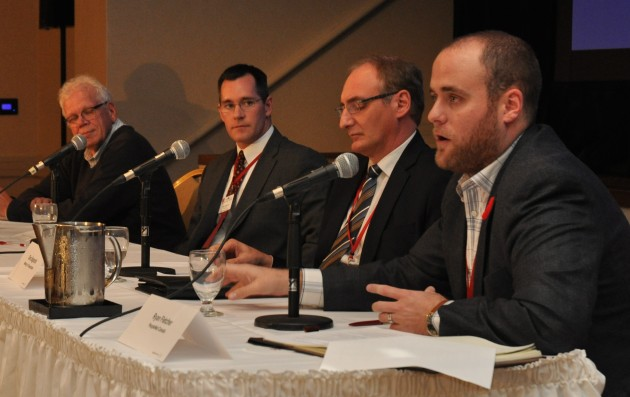 From left to right: Greg St. Croix, Marsh Risk Consulting, Jason Spence, Volvo Trucks, Dino Bagnariol, Ontario Ministry of Transportation, Ryan Fletcher, PeopleNet