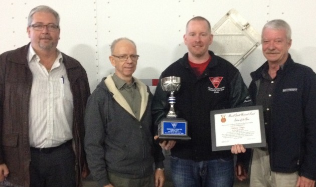 Pictured from left to right: Jeff Lambier of Ivan Armstrong Trucking, Central Chapter vice-chair, Ken Wilson, safety and compliance supervisor for SST, driver of the year James Tiegs from SST, and Central Ontario chapter chair Jerry Krauskopf of Wayfrieght.