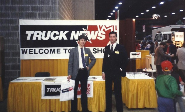 Doug Copeland (right) pictured with Truck News founder Brian Light at the Canadian Truck Show in Winnipeg in 1985.