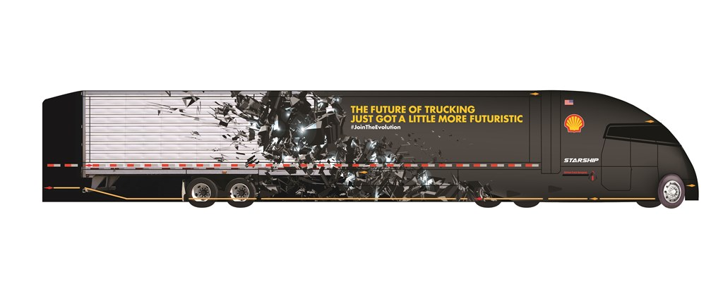 Concept drawing of Starship tractor and trailer joined together as a single integrated unit