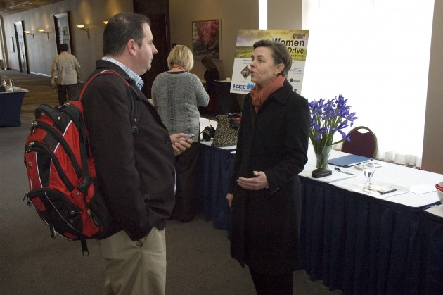 Our intrepid reporter (me) asking Minister Kellie Leitch the tough questions.