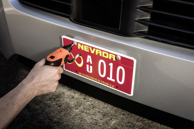 The first state license plate is installed on an autonomous commercial truck for use on a U.S. Public Highway.
