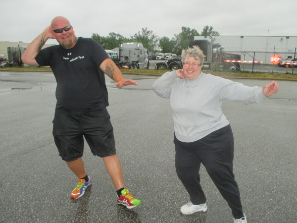 Dancing Trucker John Drury leads Brenda Guarnaschelli in a Zumba class in Windsor. Photo by Ron Stang