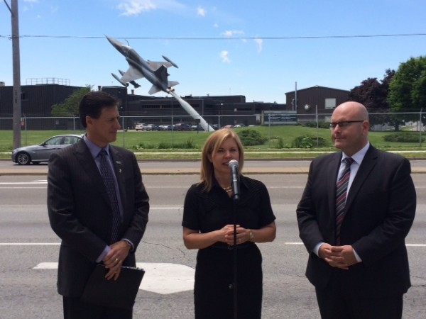Trucking HR Canada's Angela Splinter speaks at an announcement that could help transition military veterans into Ontario's trucking industry.