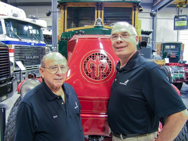 Mack Trucks Historical Museum Curator Don Schumaker (left) recently received the Historian of the Industry Award from the American Truck Historical Society for his diligent pursuit of the history of the trucking industry. Schumaker will retire at the end of 2015, with Michael Kitsock (right) assuming the role of museum curator.