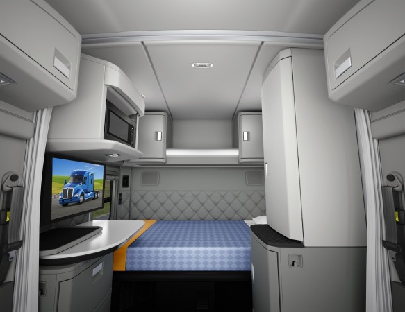 The 76-inch mid-roof sleeper offers lots of storage along the rear wall.