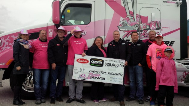 Cervus Equipment presents a cheque for $25K.