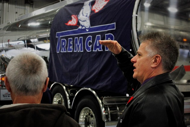 Tremcar general manager John Sadoway speaks with attendees at the company's grand opening event Nov. 4 in Sherwood Park, AB.