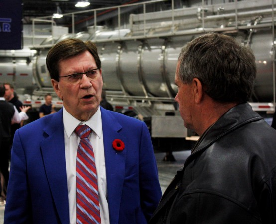 Tremcar president/owner Jacques Tremblay speaks to attendees at the company's grand opening event Nov. 4 in Edmonton, AB.