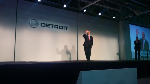 Roger Penske received a hero's welcome when introduced at the Detroit plant inauguration.