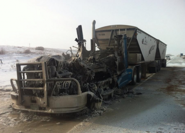Heiko's burnt-out T660. He named his second truck Second Chance.