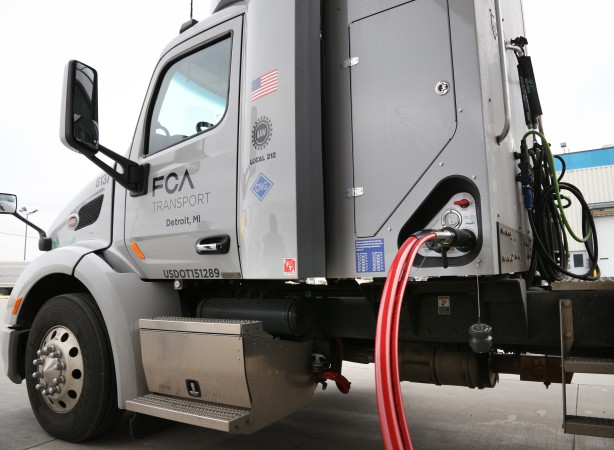 FCA US hosted dignitaries and UAW officials to celebrate the largest private fleet of natural gas-powered semi-trucks in the state of Michigan on Dec. 4, 2015.