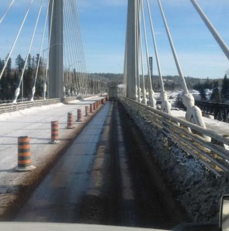 A single lane of the Nipigon bridge was opened Monday morning. Photo taken by Manminder Rattu.
