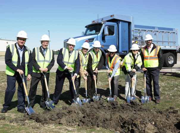 Peterbilt recently broke ground on a 102,000 sq.-ft. expansion to its heavy-duty truck manufacturing facility in Denton, Texas. Shown here during the ground-breaking ceremony are (from left to right): Ron Augustyn, Peterbilt Denton plant manager; Leon Handt, Peterbilt assistant general manager of operations; Darrin Siver, Peterbilt general manager; Denton Mayor Chris Watts; Denton assistant city manager Jon Fortune; Jeff Sanders, Hill & Wilkinson executive vice-president; Jared Ricker, Hill & Wilkinson senior project manager; and Kirk Woltman, Hill & Wilkinson vice-president. Hill & Wilkinson is the contractor working on the expansion.