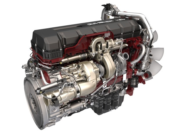 The Mack MP8 engine with turbo-compounding.