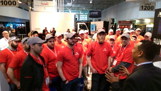 Fanshawe College students visit the Meritor booth April 14 at Truck World.