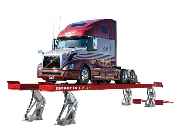 Rotary Lift's all-new V-Rex vertical rise, drive-on platform scissor lift.