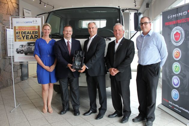 Hino Canada recently announced the top honour award to John Esplen, dealer principal and Rick Howitt, general manager at the Tri-Truck Centre dealership. From left to right: Jennifer Fitzsimmons, director of people and culture (Humberview Group), Eric Smith, senior v.p., sales and customer support (HMC), John Esplen, dealer principal (Tri Truck Centre), Rick Howitt, general manager (Tri Truck Centre), Kevin James Reason, central region sales manager (HMC).