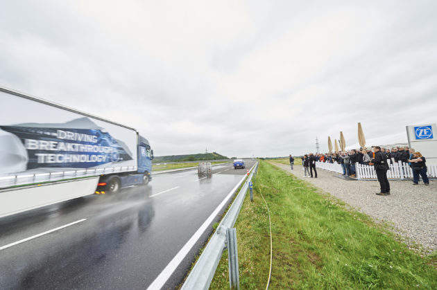 ZF demonstrates a new evasive maneuver assist safety system in Aachen, Germany.