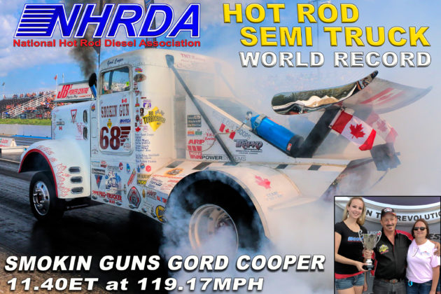 The Smokin' Gun broke the National Hot Rod Diesel Association (NHRDA) Hot Rod Semi World Record with a time of 11.403 seconds at a speed of 119.17 mph. Photo courtesy of NHRDA.