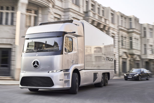 The Daimler eTruck concept all-electric vehicle.