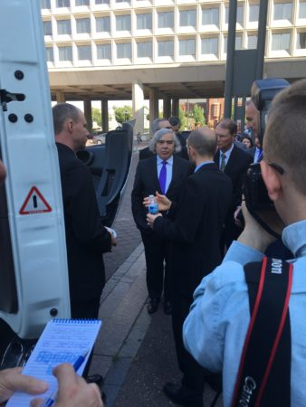 US Secretary of Energy Ernest Moniz checks out Volvo's SuperTruck.