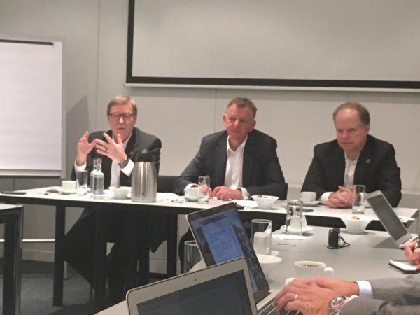 Navistar CEO Troy Clarke (left), Volkswagen Truck & Bus head Andreas Renschler (middle) and Navistar CFO Walter Borst met with the truck press at IAA.