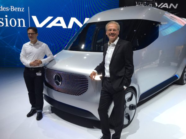 Stefan Maurer‎, head of future transportation systems MB Vans (left) and Volker Mornhinweg, head of MB Vans.