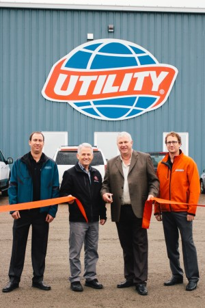 Pictured from Left to Right: Ben Cook – Trailer Sales Manager, Valley Equipment Ltd.; Terry Keating – Mayor of Salisbury; Peter Cook – President of Valley Equipment Ltd; Caleb Cook – Vice President of Valley Equipment Ltd.