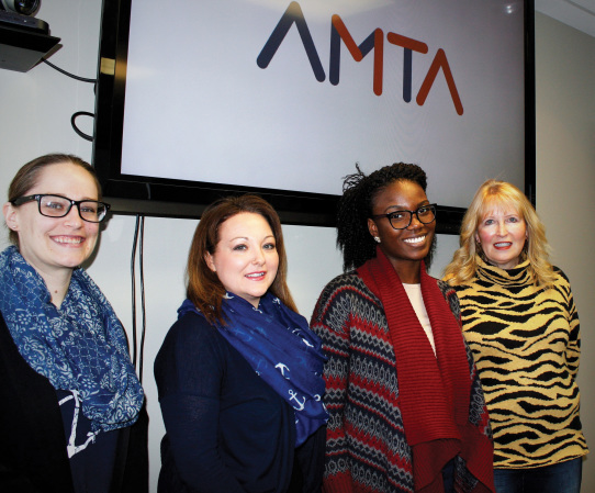 The Alberta Motor Transport Association (AMTA) unveiled its new brand and image to Truck West Jan. 6 at its Calgary, Alta. location. With a new logo and image, the association aims to keep its momentum moving forward into 2017 and beyond. From left: Kelsey Hipkin, communication specialist, Shannon Anderson, manager of human resources and marketing, Ophelia Ijeh, executive assistant, and Lorraine Card, AMTA president