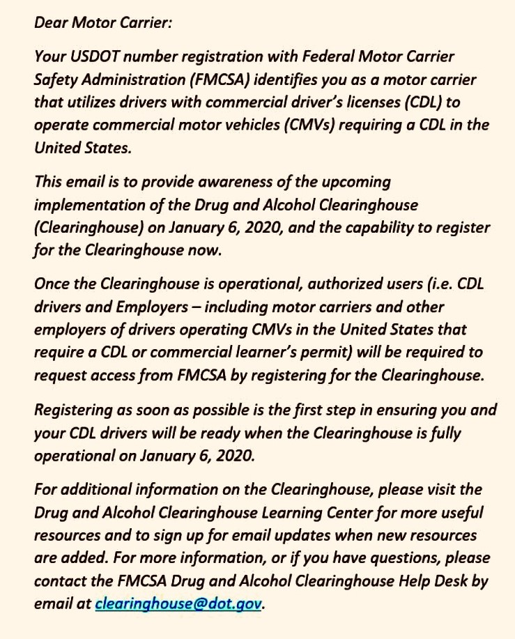 FMCSA Email