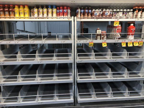 Empty shelves panic buying