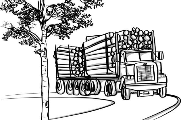 logging truck climbing hill