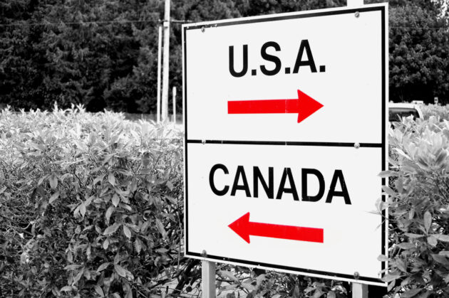 Canada-U.S. border sign