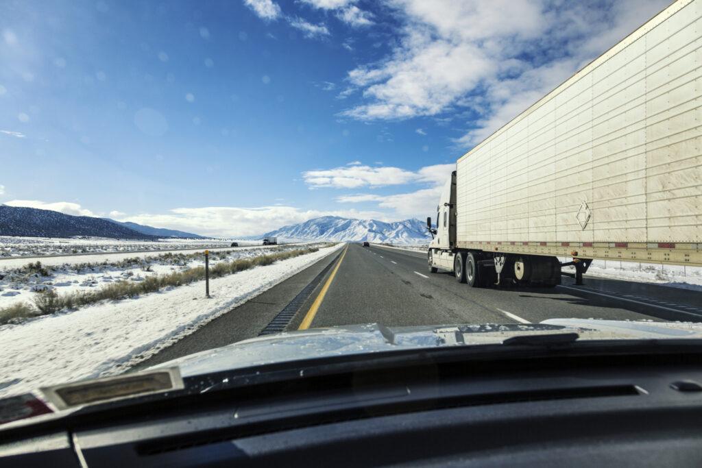 Truck driving mountain