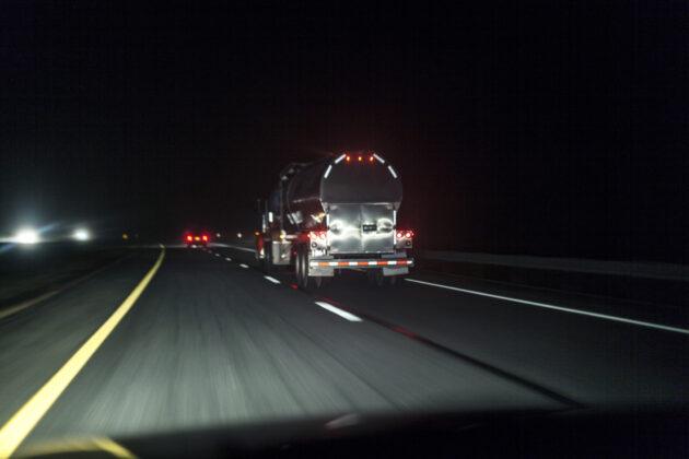 fuel tankre at night