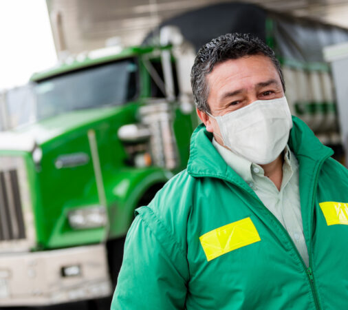 truck driver with mask