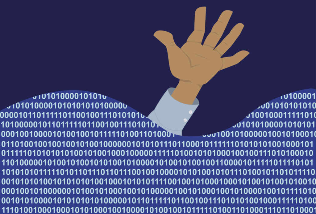 Hand of a man, drowning in a sea of computer code, EPS 8 vector illustration