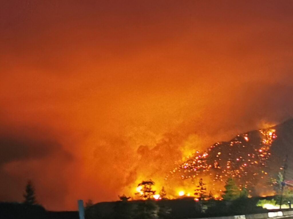 Town of Lytton and mountains burn in BC Wildfire 1