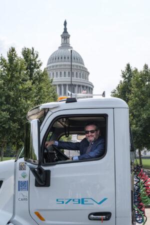 Ted Cruz and electric Peterbilt