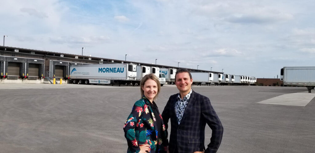Catherine Morneau, vice-president – operations, and David Morneau, vice-president – strategic development, in front of Morneau Group's 84-door Toronto terminal.