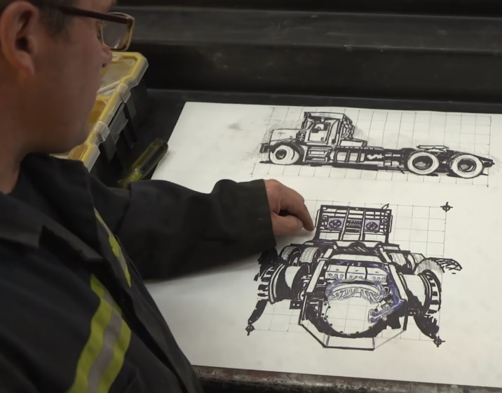 Showing artist rendering of truck