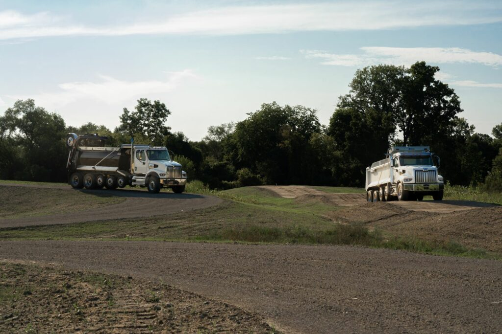 Western Star trucks on a test track