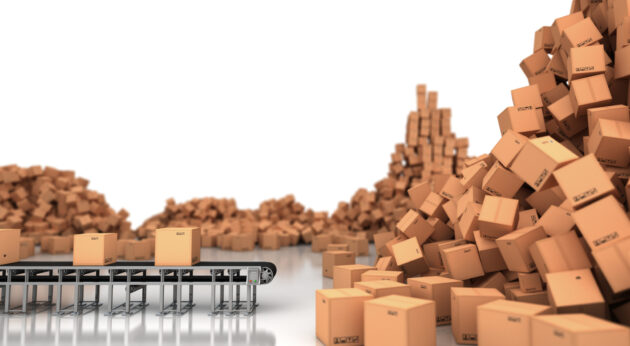 Picture of packages on conveyor